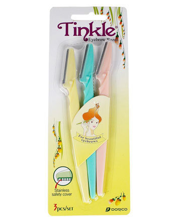 Shaving with Tinkle Eyebrow Shaper